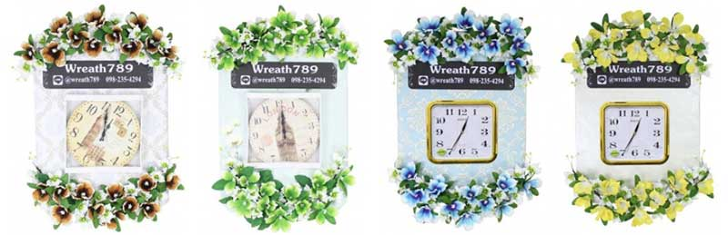 พวงหรีดนาฬิกาพร้อมดอกไม้