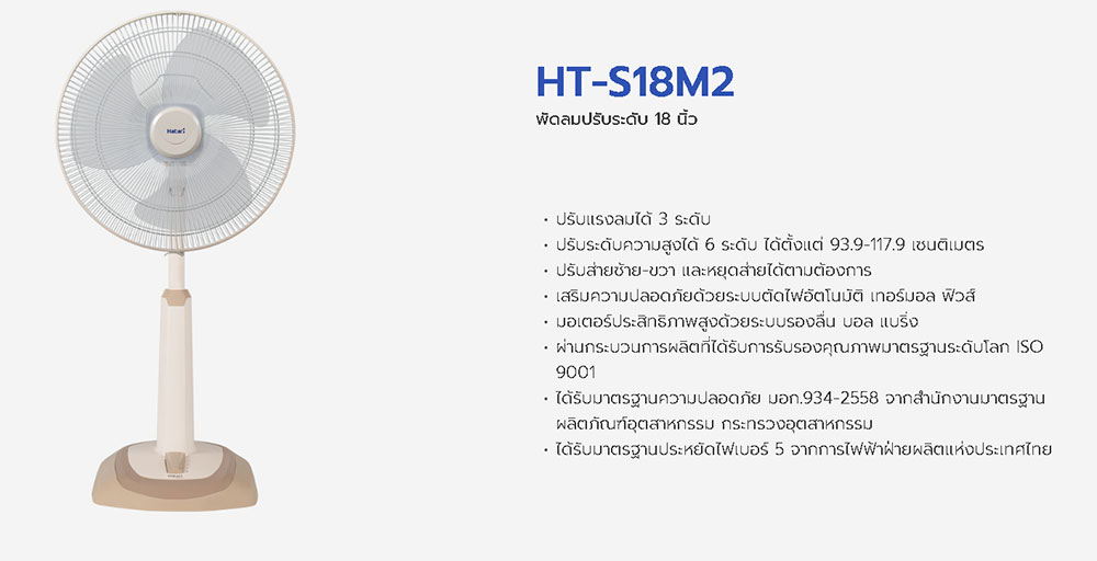 สเปคพัดลม hatari HT-S18M2
